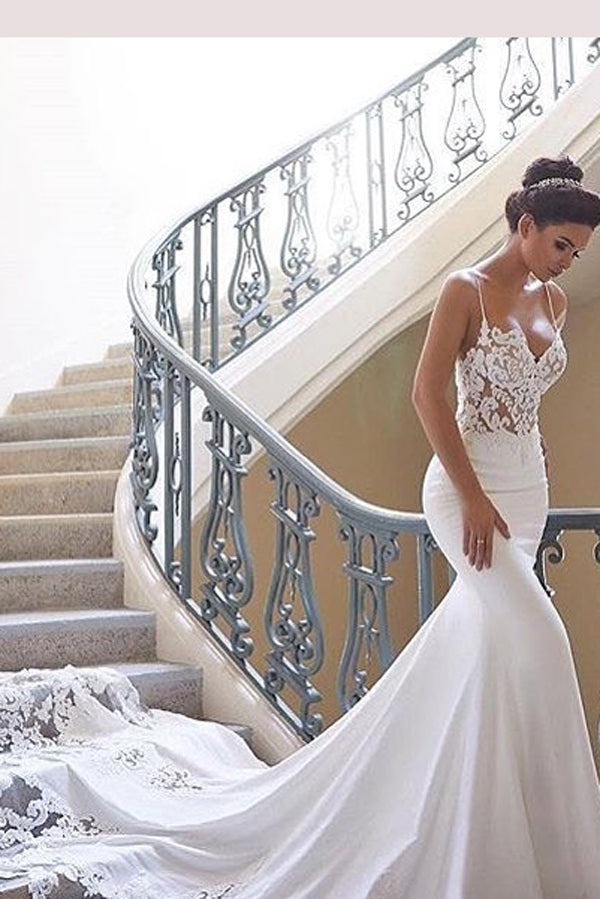 Musebridals.com offer Glamorous Spaghetti-Straps Lace Wedding Dress Mermaid Bridal Gowns,MW290