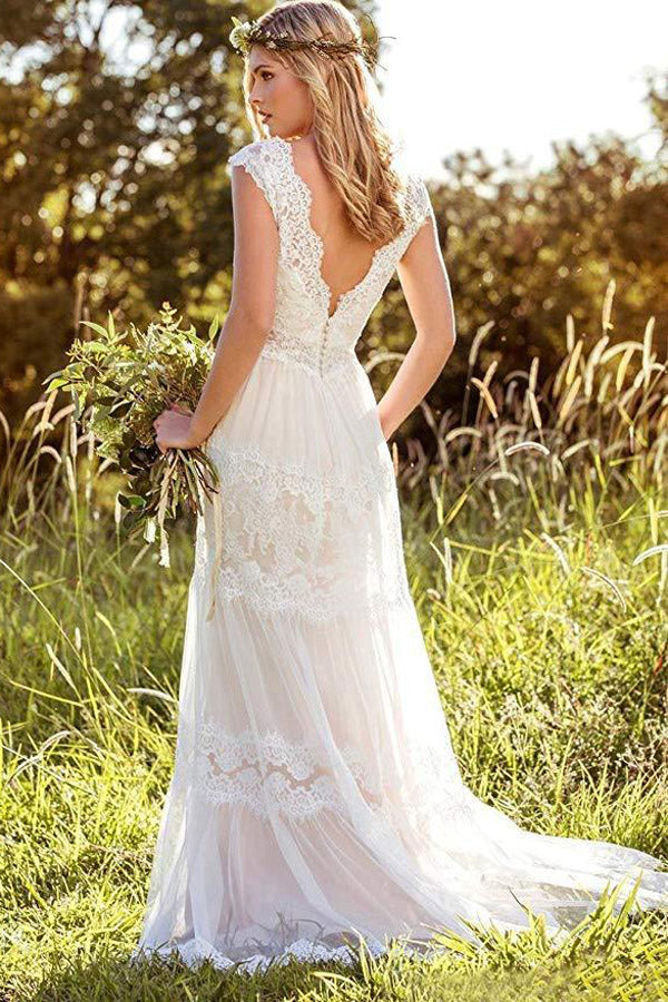 Musebridals.com offer  Simple A-Line V-Neck Bohemian Lace Bridal Gown Beach Wedding Dresses,MW293