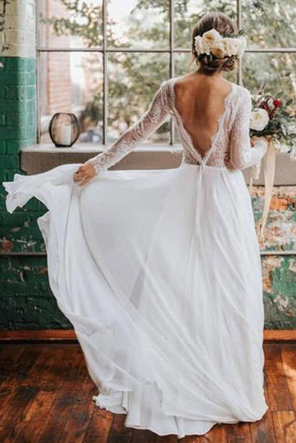 Romantic Boho Long Sleeve Beach Lace Backless Wedding Dress,MW294|musebridals.com