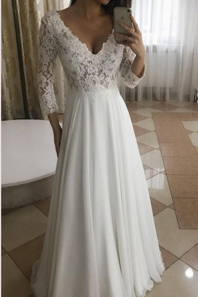 Musebridals.com offer Elegant A-Line V-Neck Long Sleeves White Lace Long Wedding Dresses,MW298