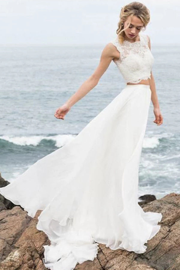 Elegant Two Pieces Lace Straps Chiffon Wedding Dresses,MW301|musebridals.com