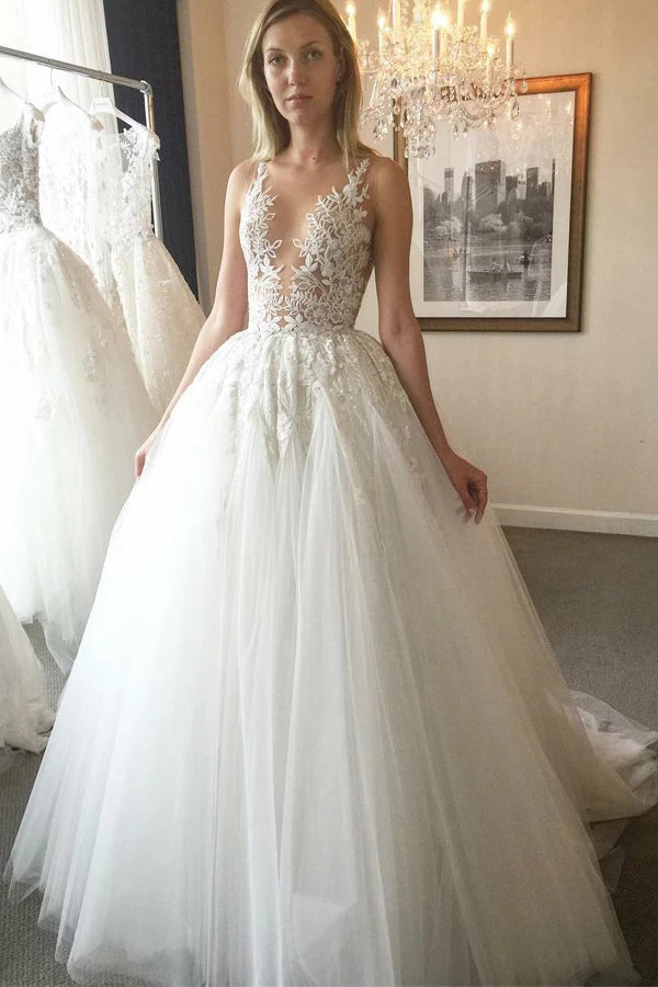 Cheap Ball Gown V-Neck Ivory Open Back Wedding Dress with Appliques,MW302|musebridals.com