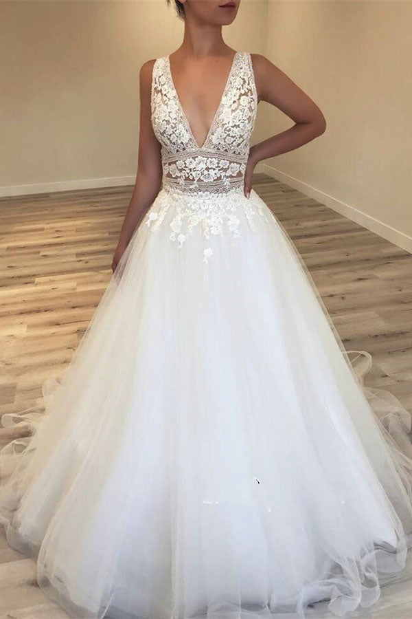 Deep V-Neck Tulle Bridal Gowns | Lace Appliques Sleeveless Wedding Dresses,MW305|musebridals.com