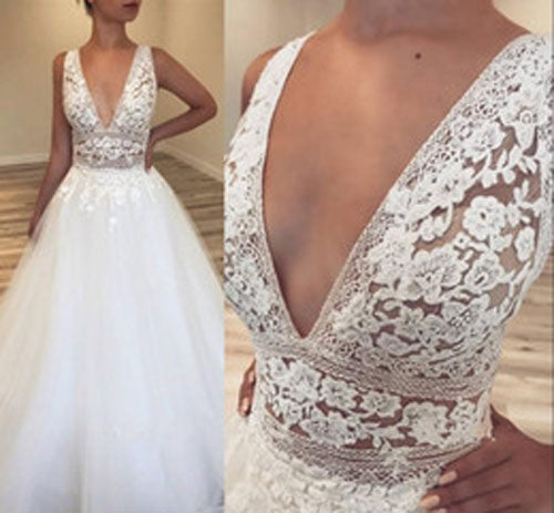 Musebridals.com offer Deep V-Neck Tulle Bridal Gowns | Lace Appliques Sleeveless Wedding Dresses,MW305