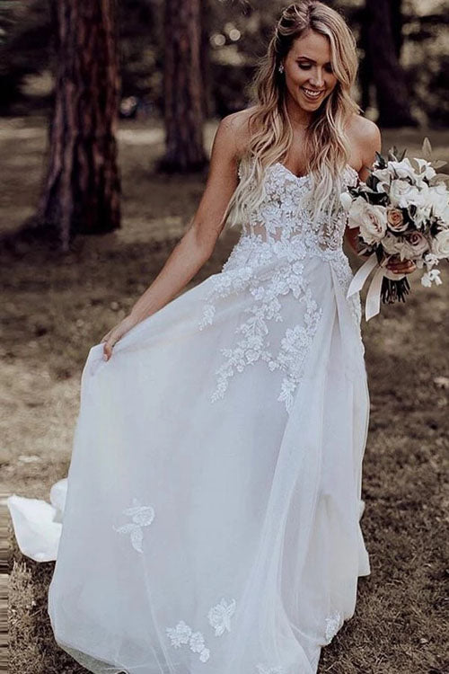 Musebridals.com offer A-Line Sweetheart Sweep Train Wedding Dress with Appliques Beading, MW309
