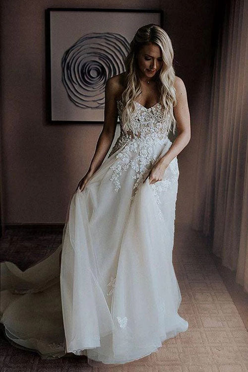 A-Line Sweetheart Sweep Train Wedding Dress with Appliques Beading, MW309