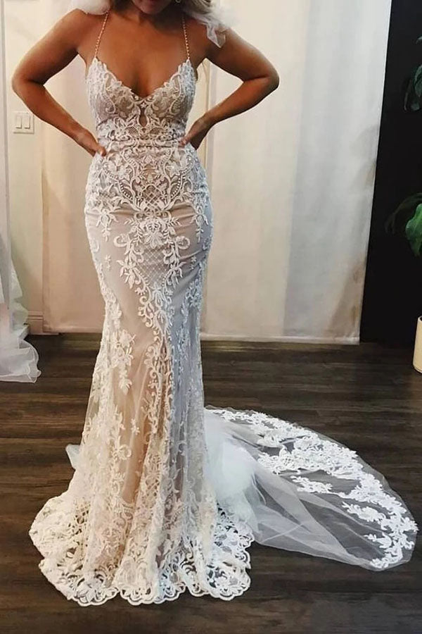 Mermaid Lace Appliques Spaghetti Straps V-Neck Ivory Wedding Dresses,MW311|musebridals.com