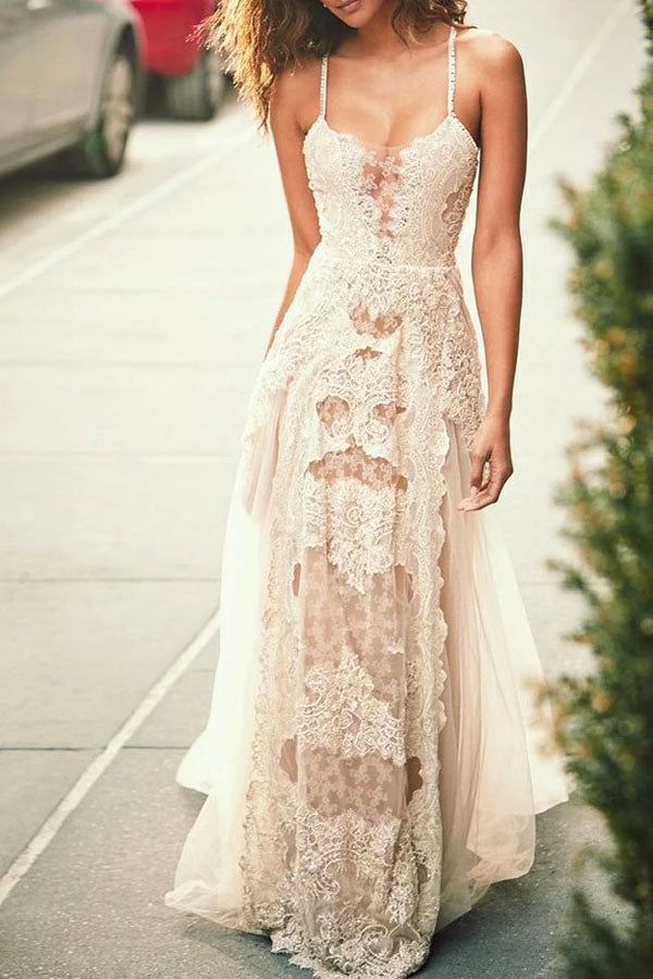 Cheap Spaghetti Straps Tulle Beach Wedding Dress, Lace Appliques Bridal Dresses,MW312|musebridals.com
