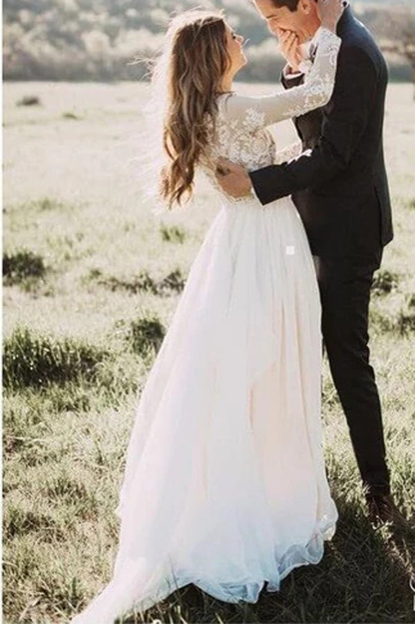 Musebridals.com offer Rustic Long Sleeve Weding Dresses Lace Appliqued Ivory Beach Wedding Dress,MW315