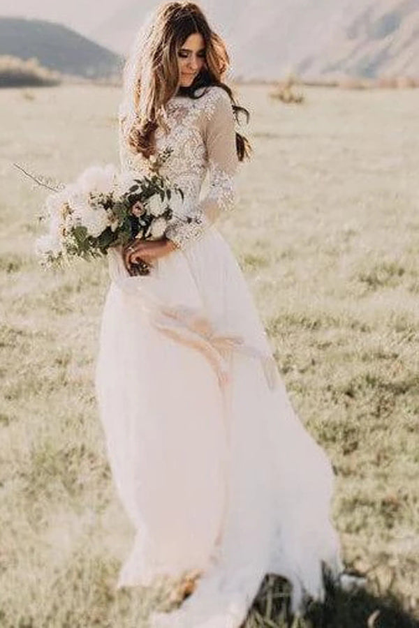 Rustic Long Sleeve Weding Dresses Lace Appliqued Ivory Beach Wedding Dress,MW315|musebridals.com