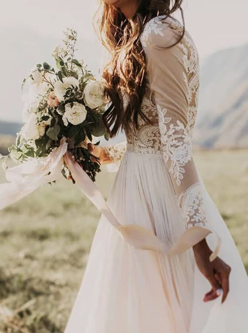 Rustic Long Sleeve Weding Dresses Lace Appliqued Ivory Beach Wedding Dress,MW315