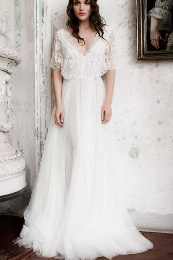 Short Sleeve Boho Wedding Dresses Ivory Lace Chiffon Rustic Wedding Gown,MW316|musebridals.com