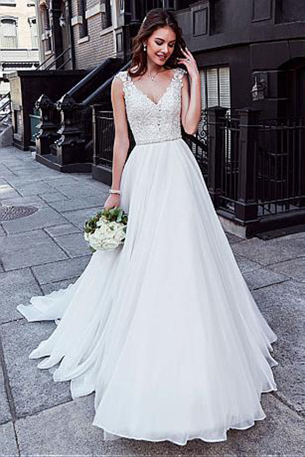 Charming Tulle V-neck A-line Wedding Dress With Beaded Lace Appliquess,MW318|musebridals.com