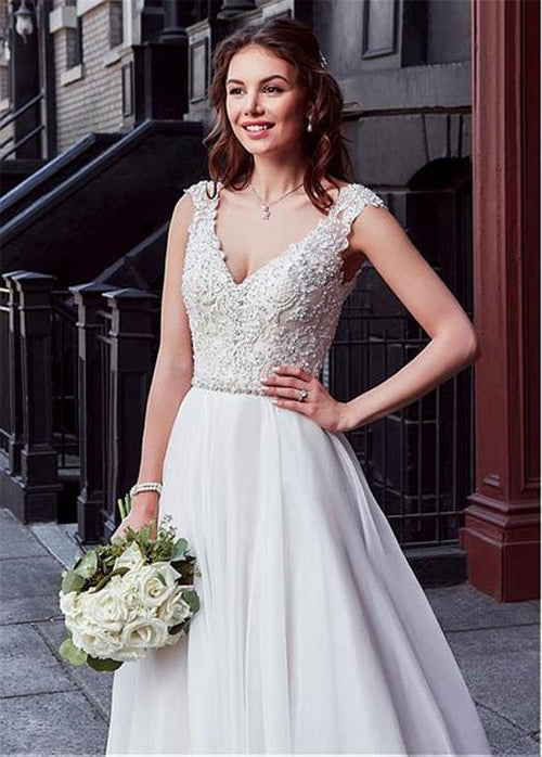 Musebridals.com offer Charming Tulle V-neck A-line Wedding Dress With Beaded Lace Appliquess,MW318