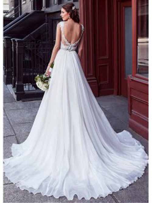 Charming Tulle V-neck A-line Wedding Dress With Beaded Lace Appliquess,MW318