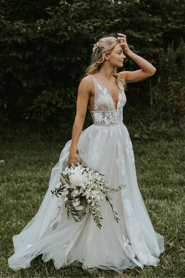 See Through Tulle V-neck Lace Ivory V-back Beach Wedding Dresses,MW329|musebridals.com
