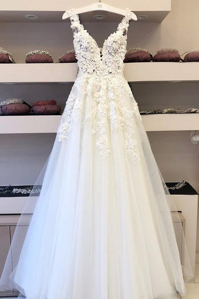 Cheap V-neck Long Wedding Dresses A-line Bridal Gowns with Appliques,MW339 | musebridals.com