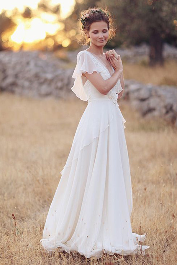 Elegant A-Line Ivory Flower Cap Sleeve V-Neck Chiffon Open Back Wedding Dresses,MW345|musebridals.com