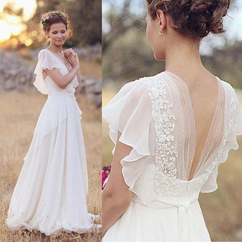 Musebridals.com offer Elegant A-Line Ivory Flower Cap Sleeve V-Neck Chiffon Open Back Wedding Dresses,MW345