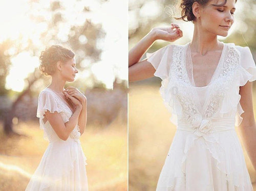 Elegant A-Line Ivory Flower Cap Sleeve V-Neck Chiffon Open Back Wedding Dresses,MW345