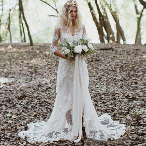 Mermaid Gown with Unlined Sleeves Wedding Dress Front Slit Ivory Lace Bridal dress,MW349