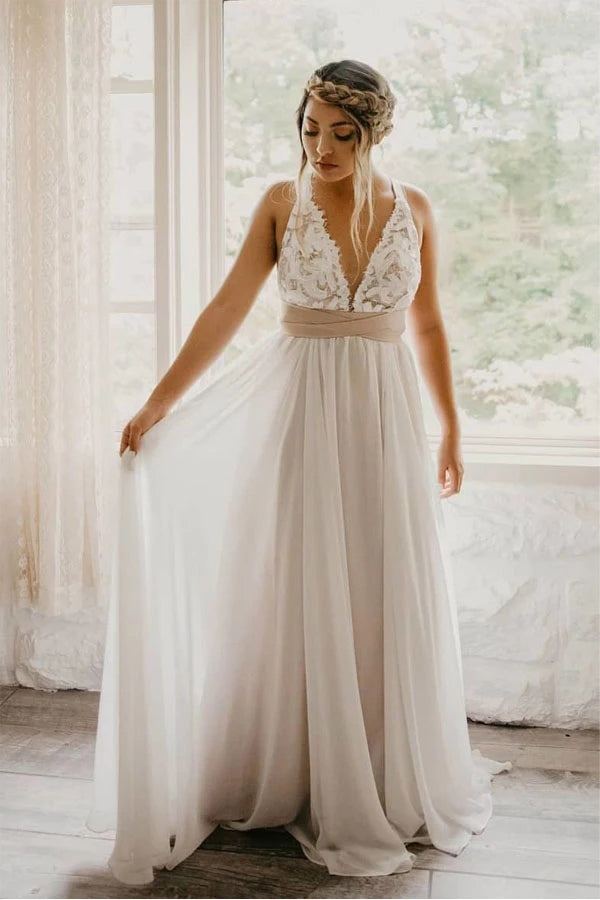 Elegant Tulle Criss Cross Deep V-Neck Wedding Dress with Waistband,MW355