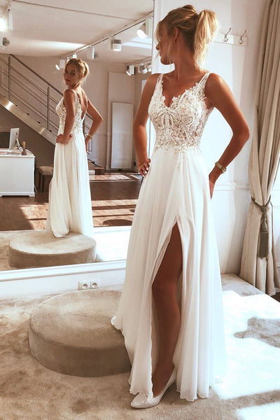 Charming Spaghetti straps Appliques Lace Wedding Dress,Split Chiffon Beach Wedding Dress,MW359