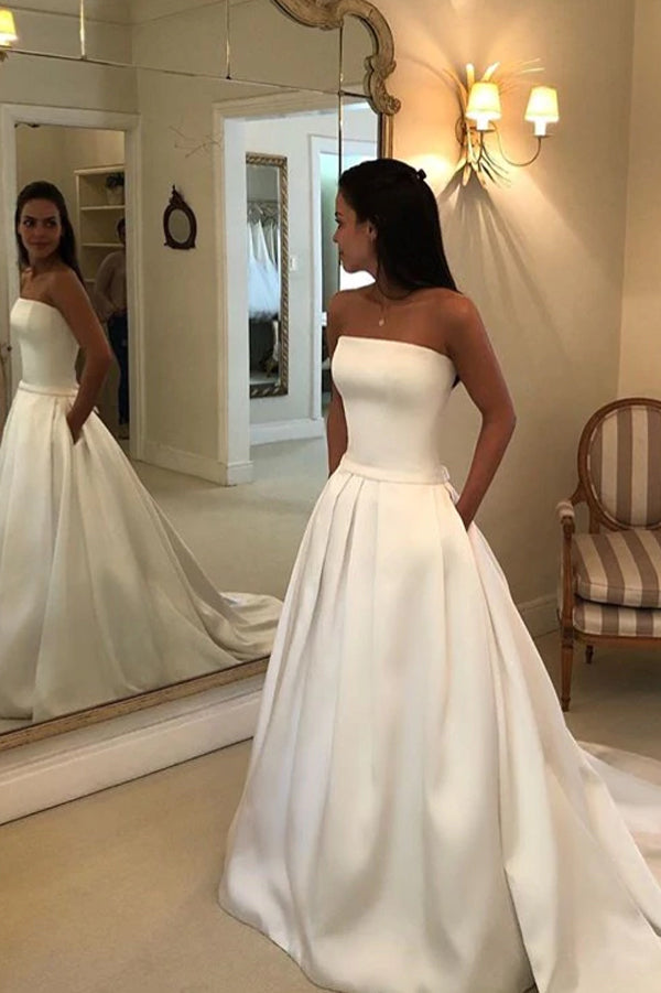 Straps Simple Ivory Satin A-line Pleated Wedding Dresses with Court Train Bridal Dresses,MW368