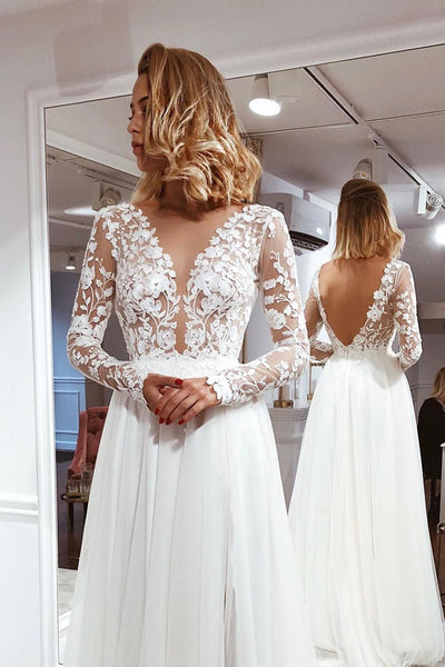 Simple A-line V-neck Open Back Ivory Lace Long Sleeves Wedding Dresses,MW381