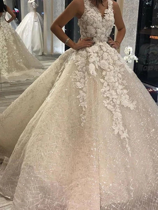 Organza Ball Gown Floral Wedding Dress With V-neck and Sequins Decorated,MW385 | musebridals.com