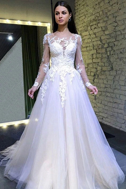 Tulle A-line Long Sleeves Round Neck Lace Appliques Wedding Dresses,MW395