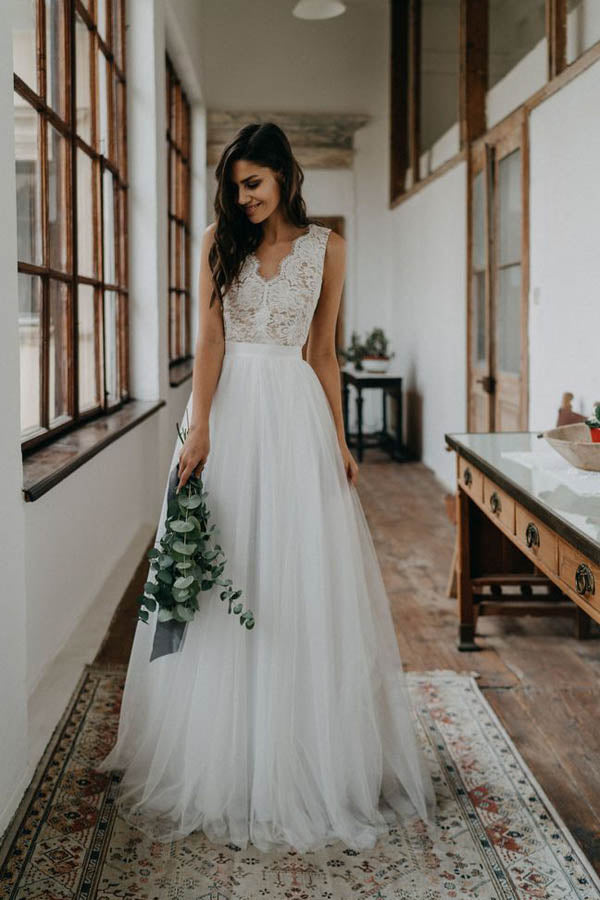 Simple A-ine V-neck Open Back Tulle & Lace Wedding Dresses,Beach Wedding Dresses,MW400
