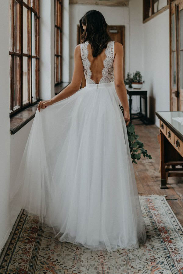 Simple A-ine V-neck Open Back Tulle & Lace Wedding Dresses,Beach Wedding Dresses,MW400 | musebridals.com