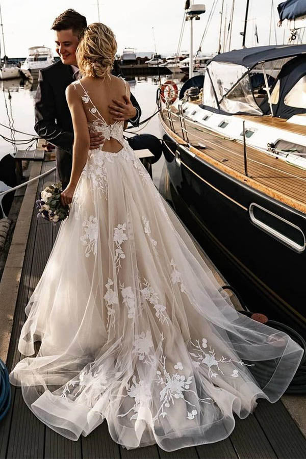 Floral Applique Beach Wedding Dresses Backless Boho Wedding Gown,MW408