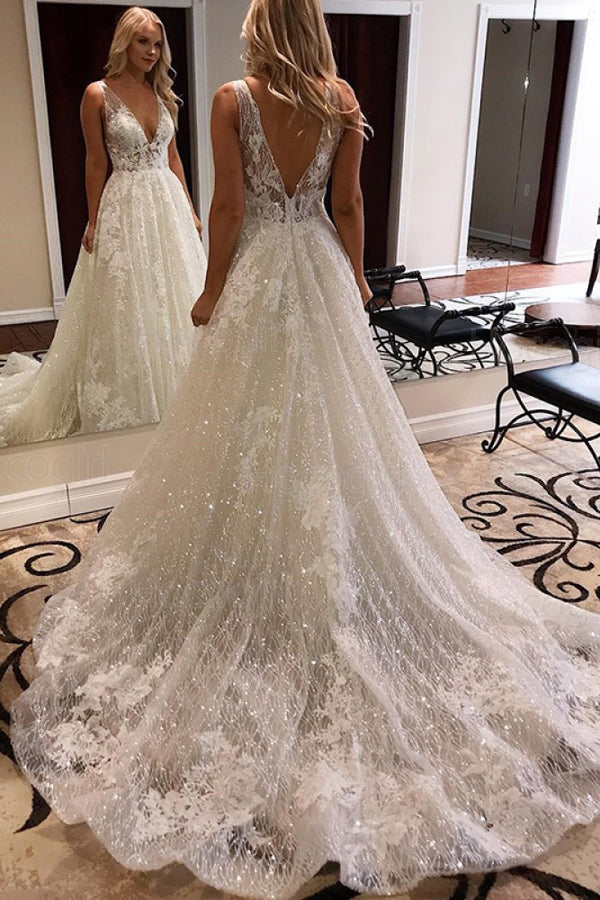 Gorgeous Ball Gown V-neck Open Back Sparkly Lace Wedding Dresses with Appliques,MW412