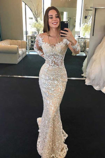 Gorgeous Mermaid Round Neck Long Sleeves Lace Wedding Dresses,Wedding Dresses with Beading,MW416