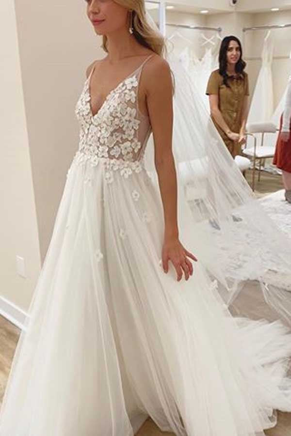 Ivory Flowers Wedding Dress with Unlined Bodice and V-neck Neckline,MW417