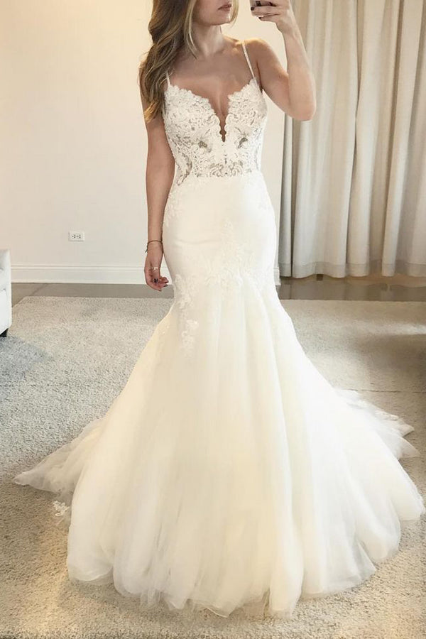 Charming Mermaid V-neck Open Back Spaghetti Straps Lace Wedding Dresses with Train,MW421