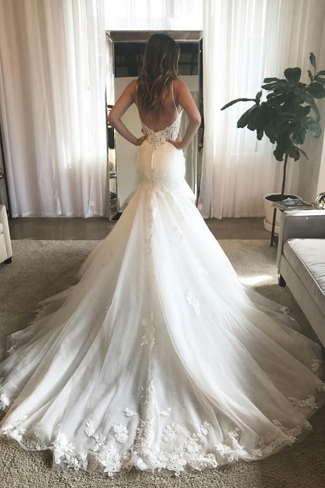 Charming Mermaid V-neck Open Back Spaghetti Straps Lace Wedding Dresses with Train,MW421 | musebridals.com