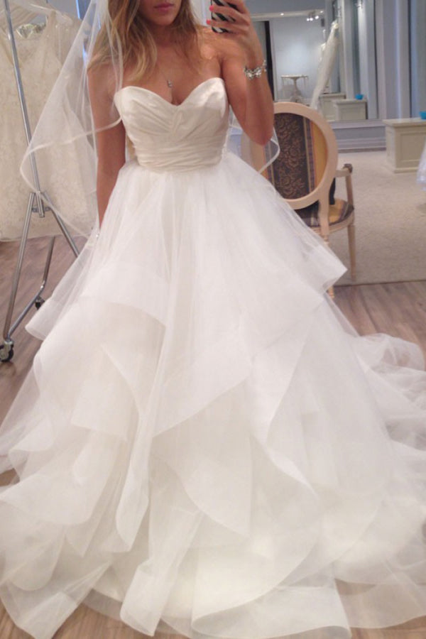 Satin Ball Gown Sweetheart Organza & Ruffled Wedding Dresses,MW422