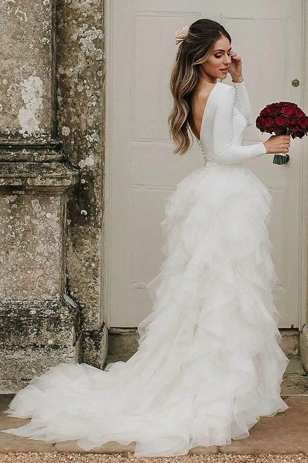 Bateau A-Line Long Sleeves High Neck Ruffles Tulle Elegant Wedding Dress,MW430