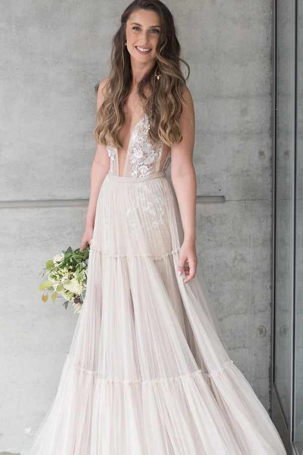Embroidery A-Line Appliques V-neck Bohemain Tulle Wedding Dress,MW441
