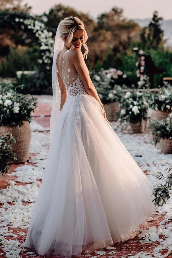 Marvelous Tulle V-neck A-line Wedding Dresses With Flowers Bridal Gowns,MW456