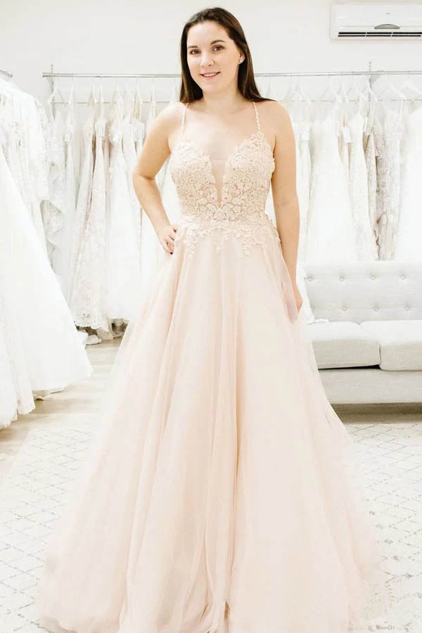 Simple Tulle Spaghetti Straps Illusion Plunging V-neck Wedding Dress,MW460