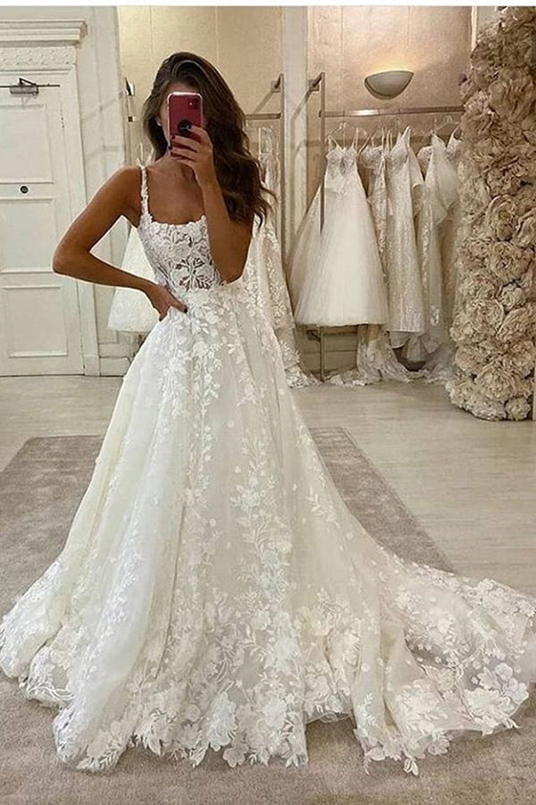 Gorgeous Ball Gown Scoop Neck Open Back Lace Wedding Dresses,Luxurious Wedding Gowns,MW466