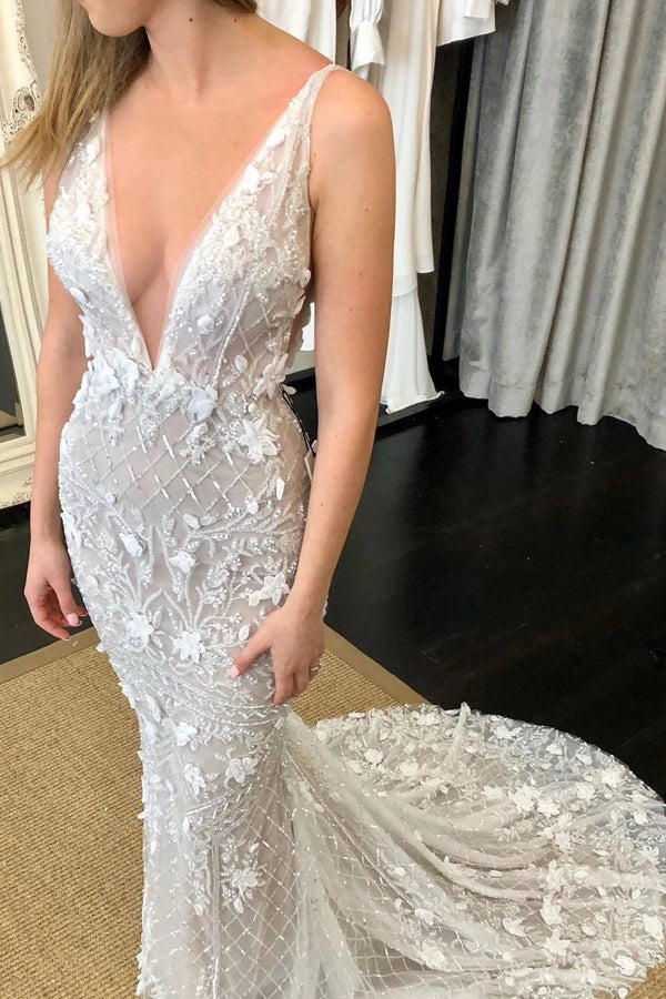 Deep V-Neck Luxury Beaded Mermaid Wedding Dress with Detachable Train,MW470