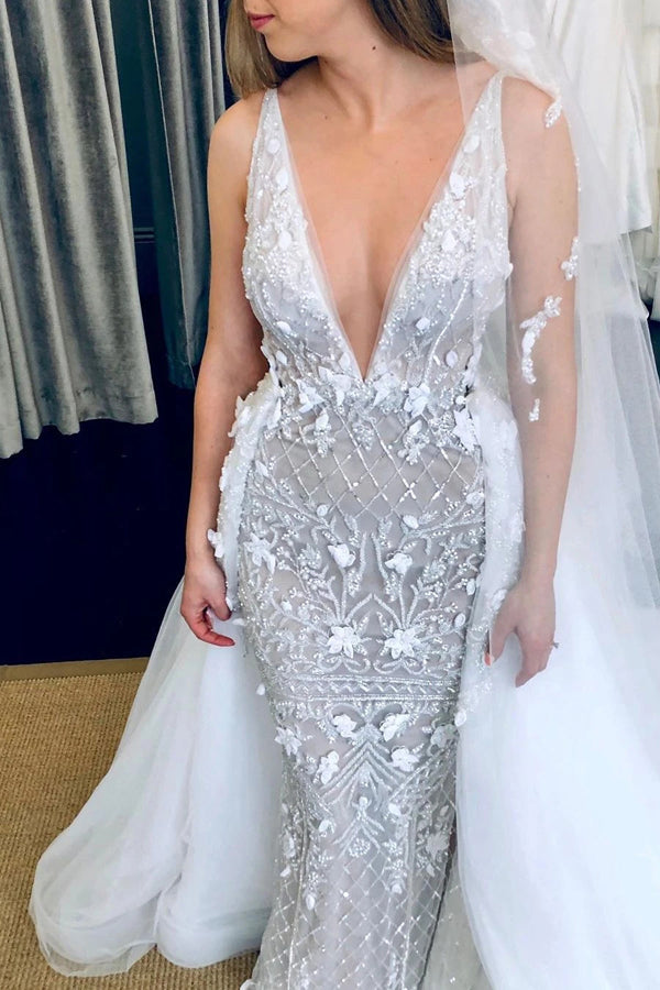 Deep V-Neck Luxury Beaded Mermaid Wedding Dress with Detachable Train,MW470 | musebridals.com