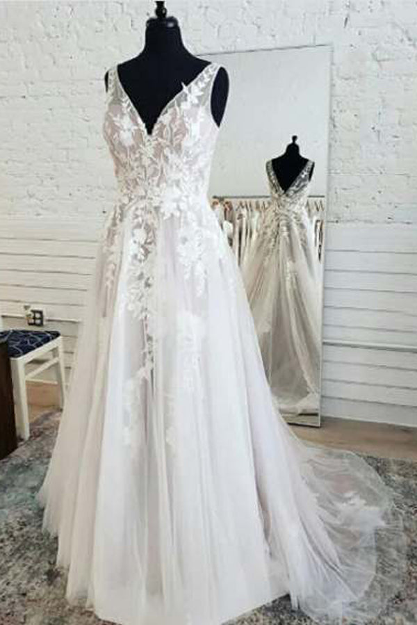 Fairy Tulle A-line V-neck Open Back Lace Sleeveless Long Wedding Dresses,MW471