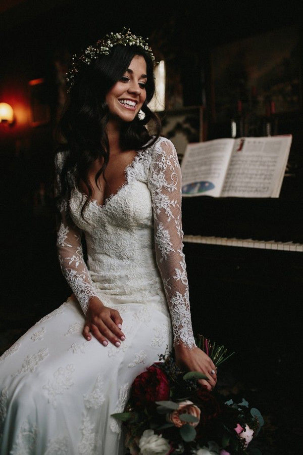 Gorgeous Mermaid V-neck Open Back Lace Long Sleeves Wedding Dresses with Train,MW472