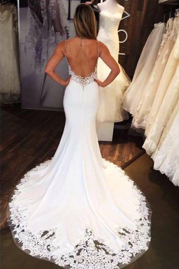 Charming Mermaid Sweetheart Open Back White Lace Long Wedding Dresses with Train,MW473